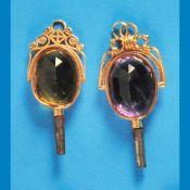 Bundle with 2 golden pocket watch keysKonvolut mit 2 Gold-Taschenuhrschlüsseln, 14 ct., mit