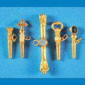 Bundle with 5 pocket watch keysKonvolut mit 5 Taschenuhrschlüsseln, teils Gold, teils vergo