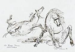 Cremer, Fritz Zwei Pferde Zeichnung, Feder, Pinsel, laviert auf festem Karton, 1974, 245 x 390,