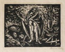 Cremer, Fritz Konvolut von zwei Linolschnitten zu: Walpurgisnacht 1.) Trödelhexe, 1948, 127 x 163
