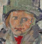 Bley, Fredo (Kind mit Hut) Ölfarben auf Hartfaserplatte, 1979, 238 x 215, sign., dat. Freistehend