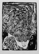 Brüne, Gudrun (geb. 1941 in Berlin, lebt in Strodehne im Havelland) Karl Marx Holzschnitt, 1982,