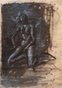 Böhme, Lothar (geb. 1938 in Berlin, lebt in Berlin) Kniender Akt Zeichnung, Feder/Tusche, weiß