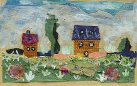 Ahnert, Elisabeth (Chemnitz 1885 - 1966 Ehrenfriedersdorf/Erzgebirge) (Blumenwiese mit Häusern)