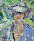 Bley, Fredo (Obermylau 1929 - 2010 Reichenbach/Vogtland) (Dame mit Sommerhut) Ölfarben auf