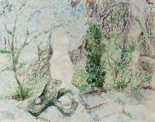 Cremer, Fritz (Skulptur im Garten) Aquarell, 1972, 480 x 598, sign., dat. Unter Passepartout