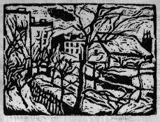 Beye, Bruno (Magdeburg 1895 - 1976 Magdeburg) Konvolut von zwei Linolschnitten 1.) Hausgärten,