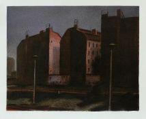 Butzmann, Manfred Abendlicht an der Stadtbahn * Farboffsetlithographie in fünf Farben, 1986, 460 x
