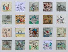 Bergner, Ralf 20 kleine Freuden Tableau mit 20 Zeichnungen, Feder/Tusche, Aquarell, 2019, jeweils