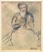 """BEHRINGER, OSKAR: """"Strickende Frau"""", 1930"""