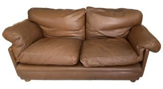 2 seater sofa model Poppy 60s -70s. Tito Agnoli for frau chair. Leather sofa cognac color padded