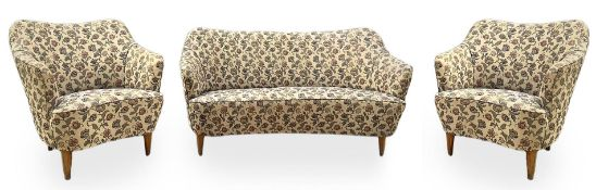 Home and Garden, Milan, design Gio Ponti, sofa and two chairs with wooden frame and floral lining