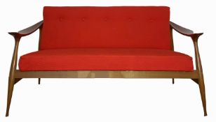 """Brothers Reguitti, mod. """"Lord."""" 50s. Beech wood sofa and original fabric upholstery.130 x 78 x 52"""