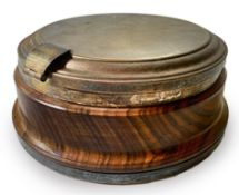 Italian Production, compost in a circular base form of walnut and silver metal lid, Wear and tear.