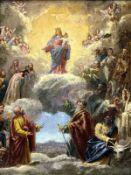 Oil paint on canvas depicting the Madonna celebration in Heaven between the Angels and Saints,