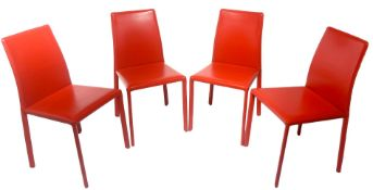 Ranked # 4 chairs with metal frame, covered in leather red, Italian production.