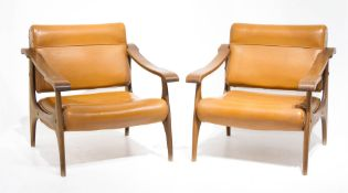 Pair of armchairs, wooden frame, seat and backrests in the sky, brass inserts. Years 60. H 72x69x72
