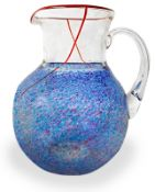 Swedish Production Kosta Boda, the body in glass jug globular shape in shades of blue red details.