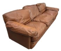 3 seater sofa Poppy model. 60s -70s. Tito Agnoli for frau chair. Leather sofa cognac color padded