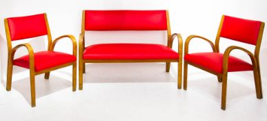 Huges Steiner Style, complete wooden and sky lounge , 50s. Two armchairs and a 2 seater sofa