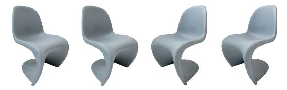 Vitra, Panton design. N. 4 plastic chairs thermo formed in shades of gray. Signature at the base.