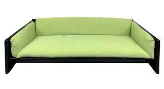 Simon, KazuideTakahama design, sofa in black lacquered wood padding original period tissue. Years