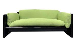 Simon, Kazuide Takahama design sofa in black lacquered wood padding original period tissue. Years