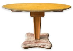 Aldo Tura Milano, wooden table toy, top covered in parchment, marble base and brass details. Years
