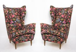 Pair of armchairs, bergere model, wooden, high-backed, coating flowered fabric. Melchiorre Bega