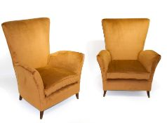 Pair of armchairs with wooden frame and high trellis. Fully reconditioned, cognac-colored. Years