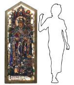Ancient glass bound to lead with infusion in glass images depicting St Chad of Mercia, Abbot and