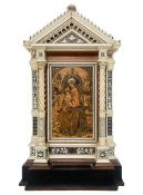 """Small wooden """"Ancona"""", ivory and nacre. Alessandro Monteneri (Perugia 1832-1920). Inside there is a"""