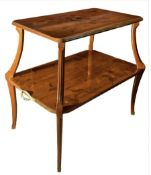Small table old Art Nouveau by Louis Majorelle, France Liberty. In wood with light wood inlays.