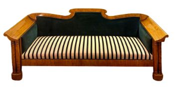 Biedermeier sofa, early nineteenth century light wood. Refurbished with silk tapezzaria in the seat