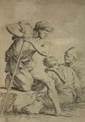 Engraving, dry point, Salvator Rosa (Naples 1615-Rome 1673) depicting man with stick and two people