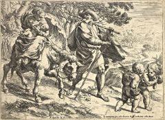 Etching depicting the Flight into Egypt Pietro Aquila (Marsala 1650- Rome 1692). all'aquaforte