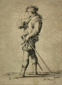 Etching, dry point, by Salvator Rosa (Naples 1615-Rome 1673) depicting man with the left stick and
