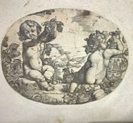 Oval Etching depicting two cherubs Bacchae, Pietro Testa said Lucchesino (Lucca 1611 - Rome 1650).