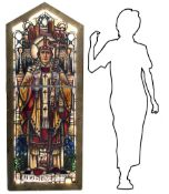 Ancient glass bound to lead with infusion in glass images depicting St Augustine. In wooden frame,