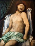 Oil paint on wood depicting Christ taken down. 52x42 cm, attributed Carlo Portelli (Loro Ciuffenna,