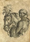 Etching, Stefano Della Bella (Florence 1610- 1664 Florence). Oval Etching depicting black Arabian