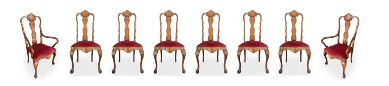 Group of 6 chairs and 2 head of table chairs, nineteenth century, Holland. With floral inlays in