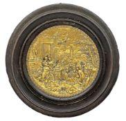 Round golden brass in wooden frame ebonized De Nuptis Mercurii et Philologiae, late eighteenth