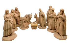 Terracotta crib , including 11 pieces, early 19th centruy, Caltagirone