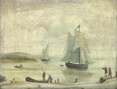 Oil painting on copper depicting marina with boats and characters, the eighteenth century, the