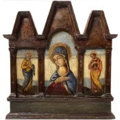 Triptych gold background on panel Madonna and Saints Peter and Paul ont both sides, Sicily,