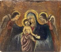 Wood panel gold background representing Madonna with Child in her lap and two adoring angels in the