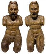 Sculptor of the sixteenth century, pair of wooden sculptures depicting satyrs, important
