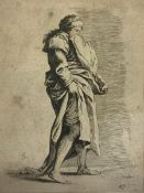 Etching, dry point Salvator Rosa (Naples 1615-Rome 1673) depicting womancovering her face, taken