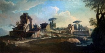 Oil painting on canvas depicting a view of the Tiber with archaeological characters, Andrea